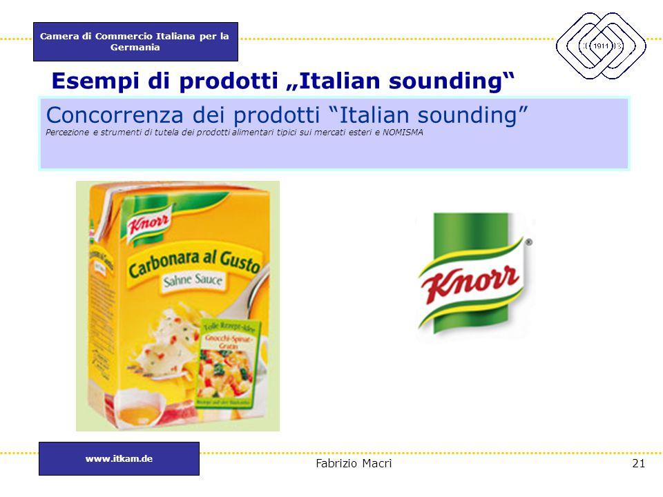 """Camera di Commercio Italiana per la Germania www.itkam.de 21Fabrizio Macrì Esempi di prodotti """"Italian sounding"""" Concorrenza dei prodotti """"Italian sou"""