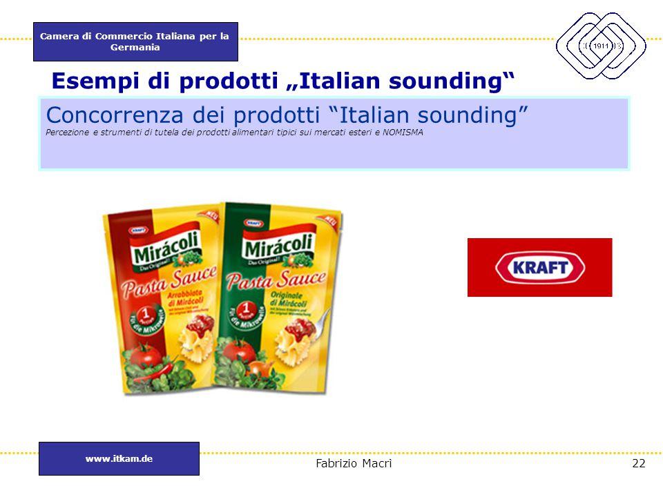 """Camera di Commercio Italiana per la Germania www.itkam.de 22Fabrizio Macrì Esempi di prodotti """"Italian sounding"""" Concorrenza dei prodotti """"Italian sou"""