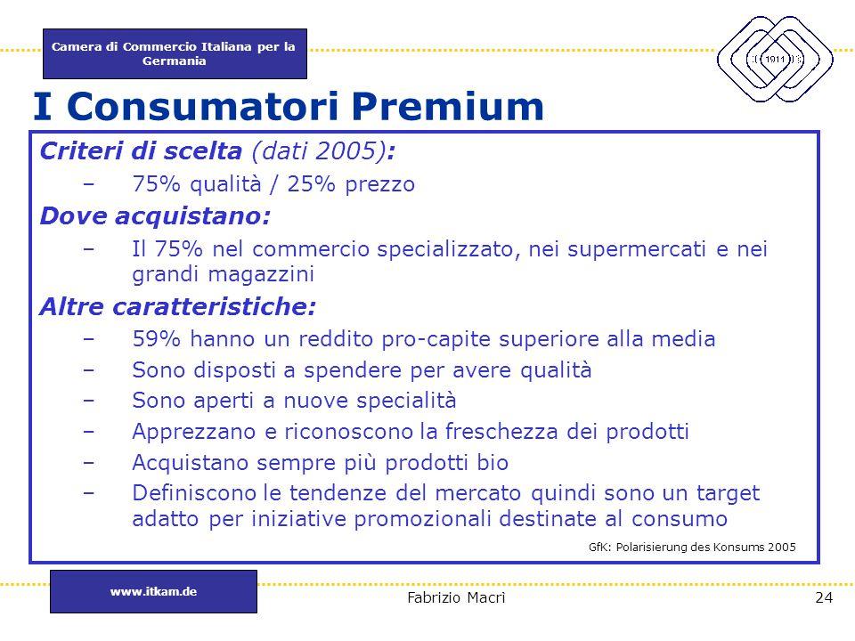 Camera di Commercio Italiana per la Germania www.itkam.de 24Fabrizio Macrì Criteri di scelta (dati 2005): –75% qualità / 25% prezzo Dove acquistano: –