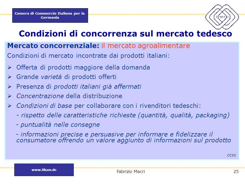 Camera di Commercio Italiana per la Germania www.itkam.de 25Fabrizio Macrì Condizioni di concorrenza sul mercato tedesco Mercato concorrenziale: il me