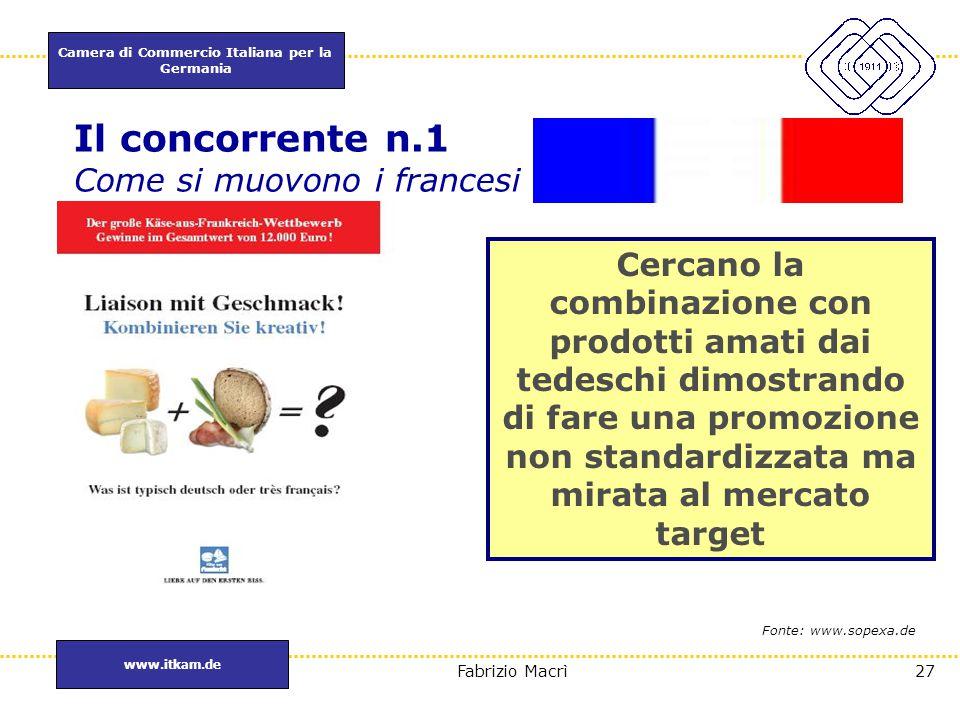 Camera di Commercio Italiana per la Germania www.itkam.de 27Fabrizio Macrì Il concorrente n.1 Come si muovono i francesi Cercano la combinazione con p