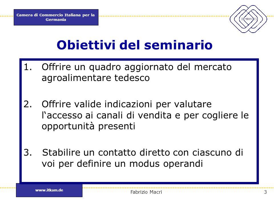 Camera di Commercio Italiana per la Germania www.itkam.de 3Fabrizio Macrì Obiettivi del seminario 1.Offrire un quadro aggiornato del mercato agroalime