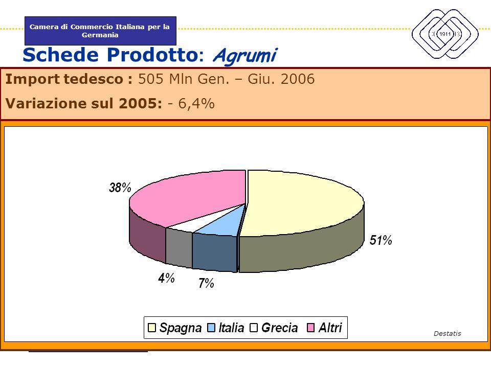 Camera di Commercio Italiana per la Germania www.itkam.de 30Fabrizio Macrì Schede Prodotto : Agrumi Import tedesco : 505 Mln Gen. – Giu. 2006 Variazio
