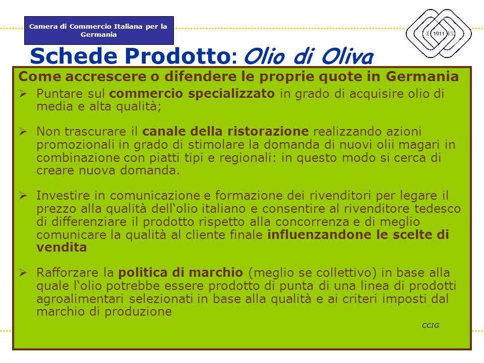 Camera di Commercio Italiana per la Germania www.itkam.de 48Fabrizio Macrì Schede Prodotto : Olio di Oliva Come accrescere o difendere le proprie quot