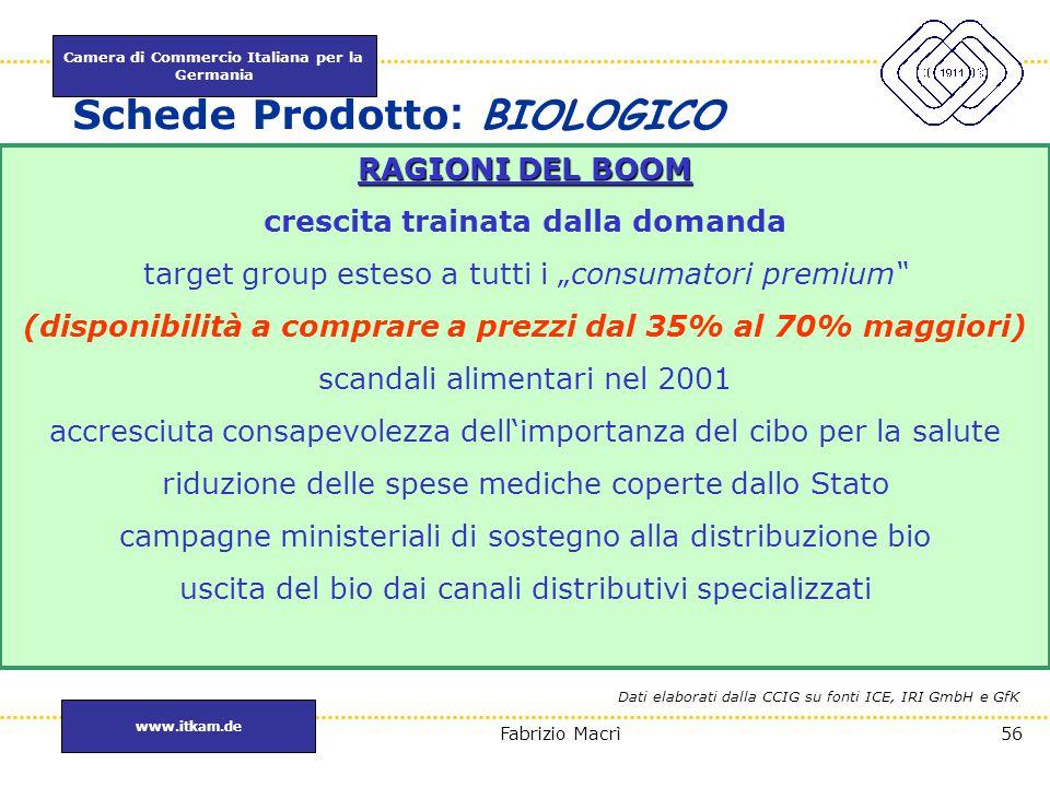 Camera di Commercio Italiana per la Germania www.itkam.de 56Fabrizio Macrì Schede Prodotto : BIOLOGICO RAGIONI DEL BOOM crescita trainata dalla domand