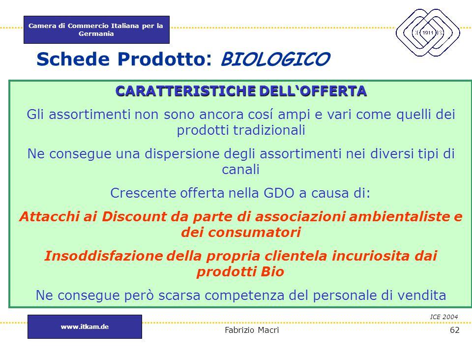 Camera di Commercio Italiana per la Germania www.itkam.de 62Fabrizio Macrì Schede Prodotto : BIOLOGICO ICE 2004 CARATTERISTICHEDELL'OFFERTA CARATTERIS