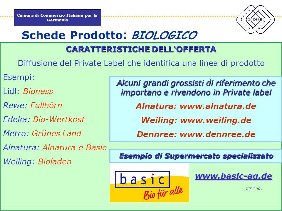 Camera di Commercio Italiana per la Germania www.itkam.de 63Fabrizio Macrì Schede Prodotto : BIOLOGICO ICE 2004 CARATTERISTICHEDELL'OFFERTA CARATTERIS