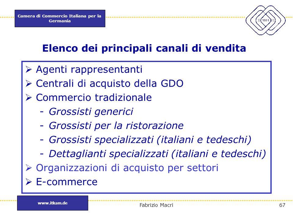 Camera di Commercio Italiana per la Germania www.itkam.de 67Fabrizio Macrì Elenco dei principali canali di vendita  Agenti rappresentanti  Centrali