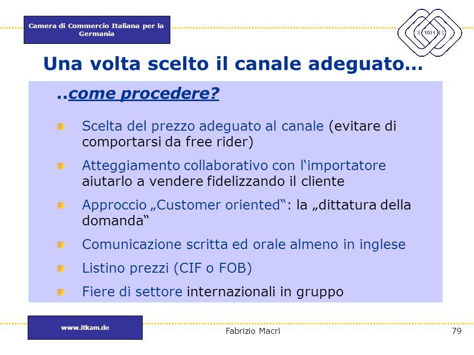 Camera di Commercio Italiana per la Germania www.itkam.de 79Fabrizio Macrì Una volta scelto il canale adeguato…..come procedere? Scelta del prezzo ade