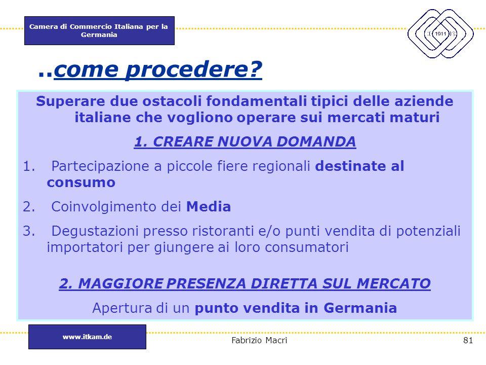 Camera di Commercio Italiana per la Germania www.itkam.de 81Fabrizio Macrì..come procedere? Superare due ostacoli fondamentali tipici delle aziende it