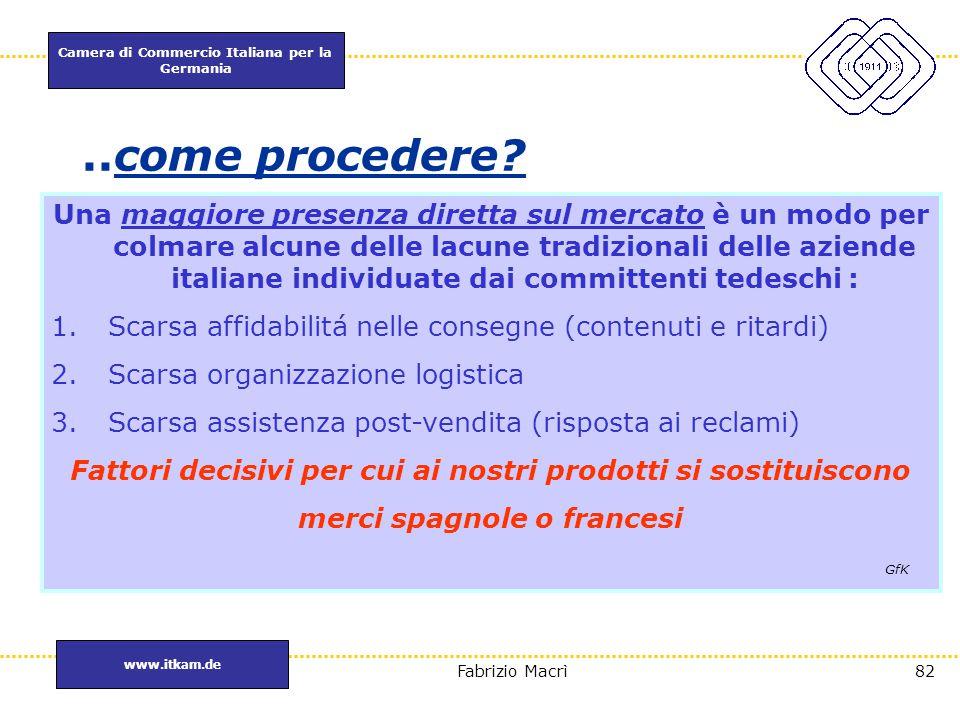 Camera di Commercio Italiana per la Germania www.itkam.de 82Fabrizio Macrì..come procedere? Una maggiore presenza diretta sul mercato è un modo per co