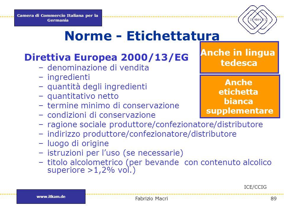 Camera di Commercio Italiana per la Germania www.itkam.de 89Fabrizio Macrì Norme - Etichettatura Direttiva Europea 2000/13/EG –denominazione di vendit