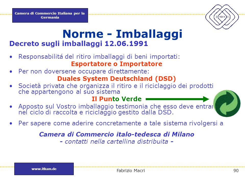 Camera di Commercio Italiana per la Germania www.itkam.de 90Fabrizio Macrì Norme - Imballaggi Decreto sugli imballaggi 12.06.1991 Responsabilitá del r