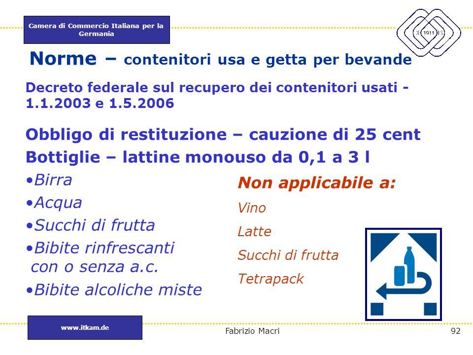 Camera di Commercio Italiana per la Germania www.itkam.de 92Fabrizio Macrì Norme – contenitori usa e getta per bevande Decreto federale sul recupero d