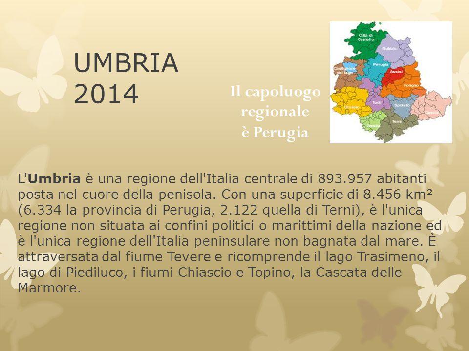 UMBRIA 2014 L'Umbria è una regione dell'Italia centrale di 893.957 abitanti posta nel cuore della penisola. Con una superficie di 8.456 km² (6.334 la