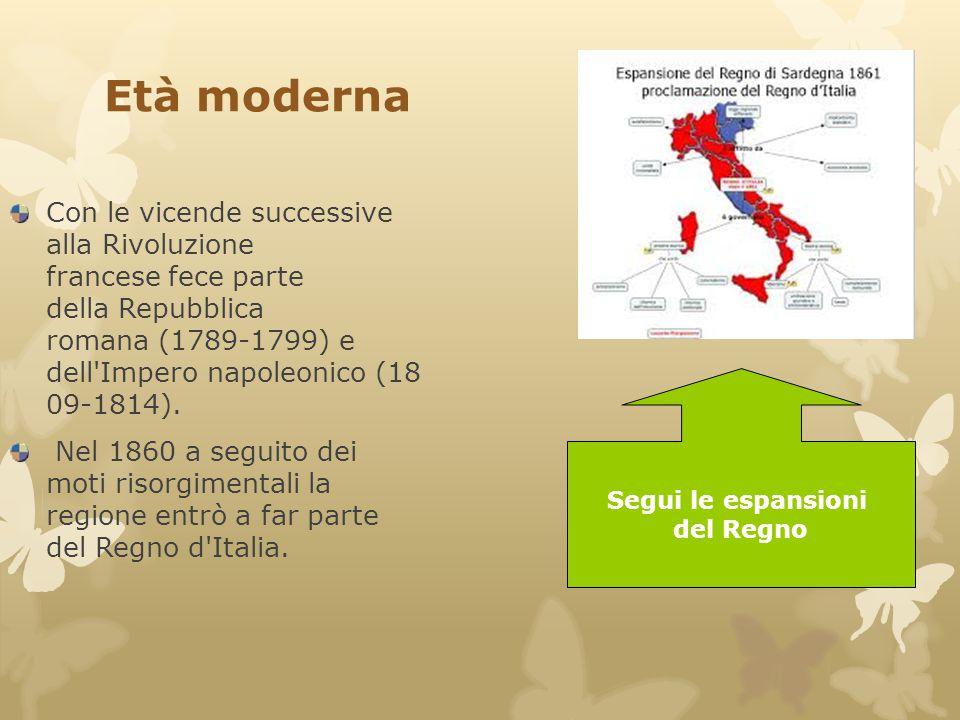Età moderna Con le vicende successive alla Rivoluzione francese fece parte della Repubblica romana (1789-1799) e dell'Impero napoleonico (18 09-1814).