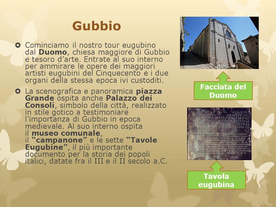 Gubbio  Cominciamo il nostro tour eugubino dal Duomo, chiesa maggiore di Gubbio e tesoro d'arte. Entrate al suo interno per ammirare le opere dei mag
