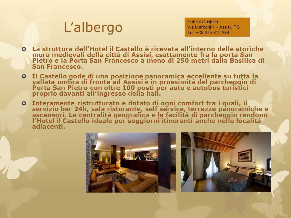 L'albergo  La struttura dell'Hotel il Castello è ricavata all'interno delle storiche mura medievali della città di Assisi, esattamente fra la porta S