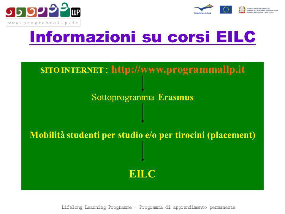 Informazioni su corsi EILC SITO INTERNET : http://www.programmallp.it Sottoprogramma Erasmus Mobilità studenti per studio e/o per tirocini (placement) EILC