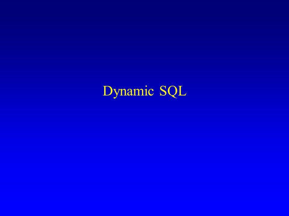 Interrogazioni parametriche in PL/SQL procedure doIt( X in VarChar2 ) y VarChar2; begin select s.nome into y from Studenti s where Cognome = X; end;