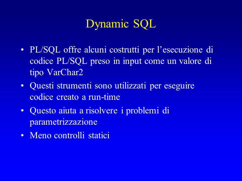 Dynamic SQL PL/SQL offre alcuni costrutti per l'esecuzione di codice PL/SQL preso in input come un valore di tipo VarChar2 Questi strumenti sono utilizzati per eseguire codice creato a run-time Questo aiuta a risolvere i problemi di parametrizzazione Meno controlli statici