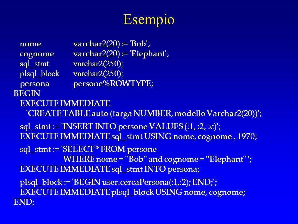 OPEN FOR OPEN … FOR esegue query multiriga e immette il risultato in un cursore (tipo REF CURSOR, weakly typed) La sintassi è della forma: OPEN cursor_variable FOR dynamic_string [USING bind_argument[, bind_argument]...];