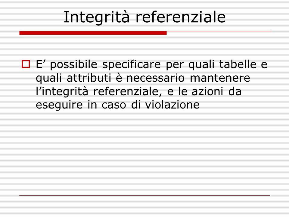 Integrità referenziale  E' possibile specificare per quali tabelle e quali attributi è necessario mantenere l'integrità referenziale, e le azioni da