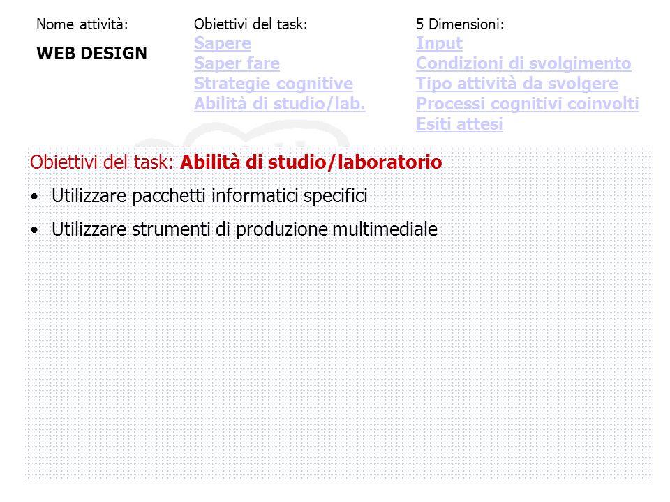 Nome attività: WEB DESIGN Obiettivi del task: Abilità di studio/laboratorio Utilizzare pacchetti informatici specifici Utilizzare strumenti di produzione multimediale Obiettivi del task: Sapere Saper fare Strategie cognitive Abilità di studio/lab.