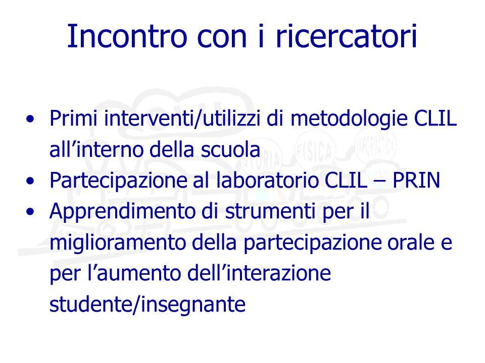 Primi interventi/utilizzi di metodologie CLIL all'interno della scuola Partecipazione al laboratorio CLIL – PRIN Apprendimento di strumenti per il miglioramento della partecipazione orale e per l'aumento dell'interazione studente/insegnante Incontro con i ricercatori