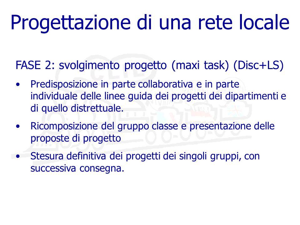 Progettazione di una rete locale FASE 2: svolgimento progetto (maxi task) (Disc+LS) Predisposizione in parte collaborativa e in parte individuale delle linee guida dei progetti dei dipartimenti e di quello distrettuale.