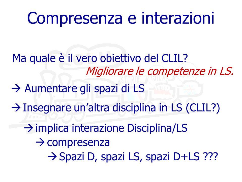 Compresenza e interazioni Migliorare le competenze in LS.