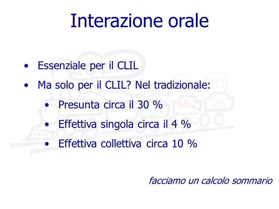 Interazione orale Essenziale per il CLIL Ma solo per il CLIL.