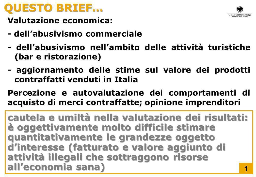 QUESTO BRIEF… Valutazione economica: - dell'abusivismo commerciale - dell'abusivismo nell'ambito delle attività turistiche (bar e ristorazione) - aggi