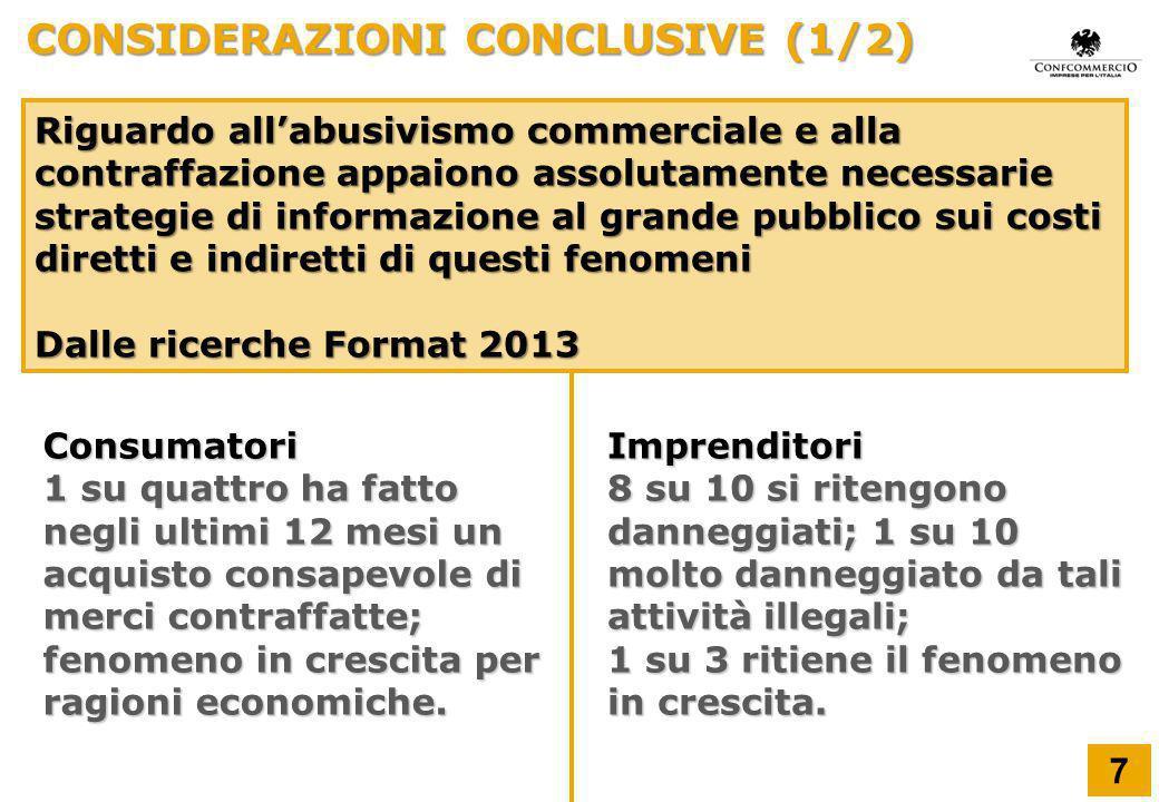 CONSIDERAZIONI CONCLUSIVE (1/2) Riguardo all'abusivismo commerciale e alla contraffazione appaiono assolutamente necessarie strategie di informazione
