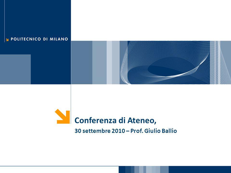Conferenza di Ateneo, 30 settembre 2010 – Prof. Giulio Ballio