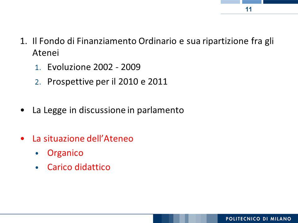 11 1.Il Fondo di Finanziamento Ordinario e sua ripartizione fra gli Atenei 1.