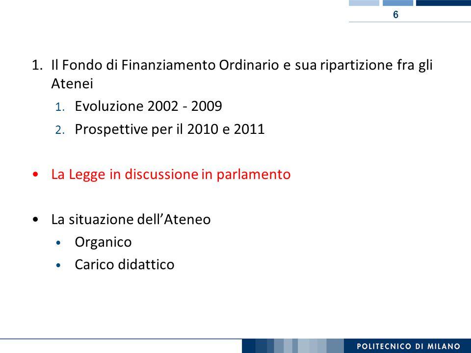 6 1.Il Fondo di Finanziamento Ordinario e sua ripartizione fra gli Atenei 1.