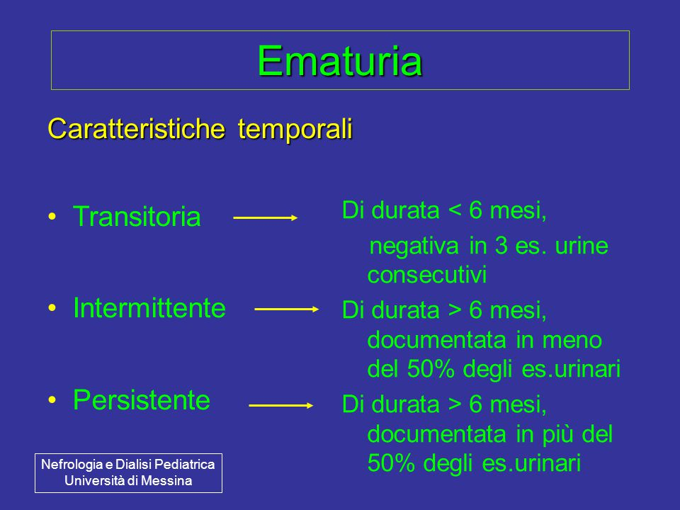 Ematuria Caratteristiche temporali Transitoria Intermittente Persistente Di durata < 6 mesi, negativa in 3 es.