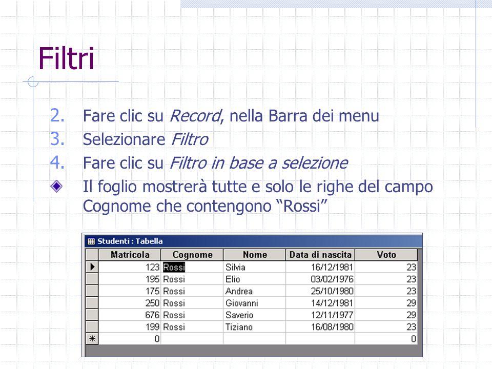 Filtri 2. Fare clic su Record, nella Barra dei menu 3. Selezionare Filtro 4. Fare clic su Filtro in base a selezione Il foglio mostrerà tutte e solo l