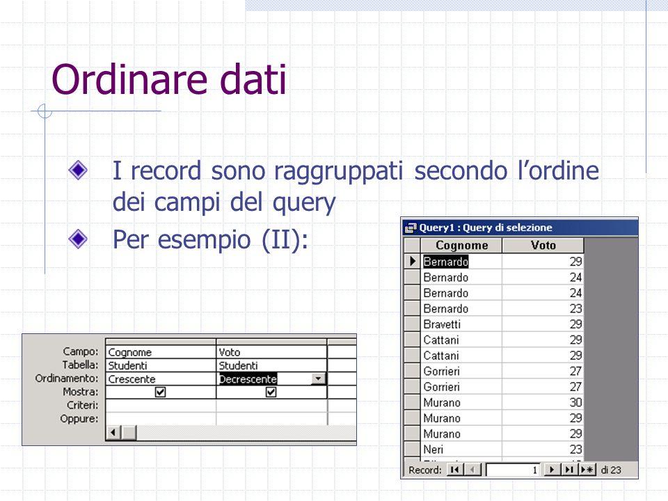 Filtri Un filtro è una funzione che provoca la visualizzazione dei soli record contenenti dati che rispondono a un certo requisito Per applicare un filtro a una tabella è necessario lavorare in visualizzazione foglio dati