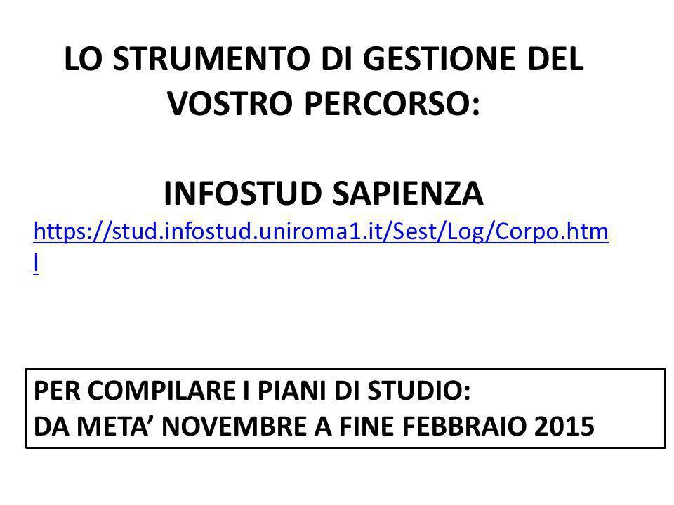 LO STRUMENTO DI GESTIONE DEL VOSTRO PERCORSO: INFOSTUD SAPIENZA https://stud.infostud.uniroma1.it/Sest/Log/Corpo.htm l PER COMPILARE I PIANI DI STUDIO