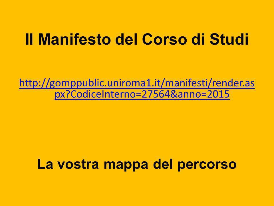 Il Manifesto del Corso di Studi http://gomppublic.uniroma1.it/manifesti/render.as px?CodiceInterno=27564&anno=2015 La vostra mappa del percorso