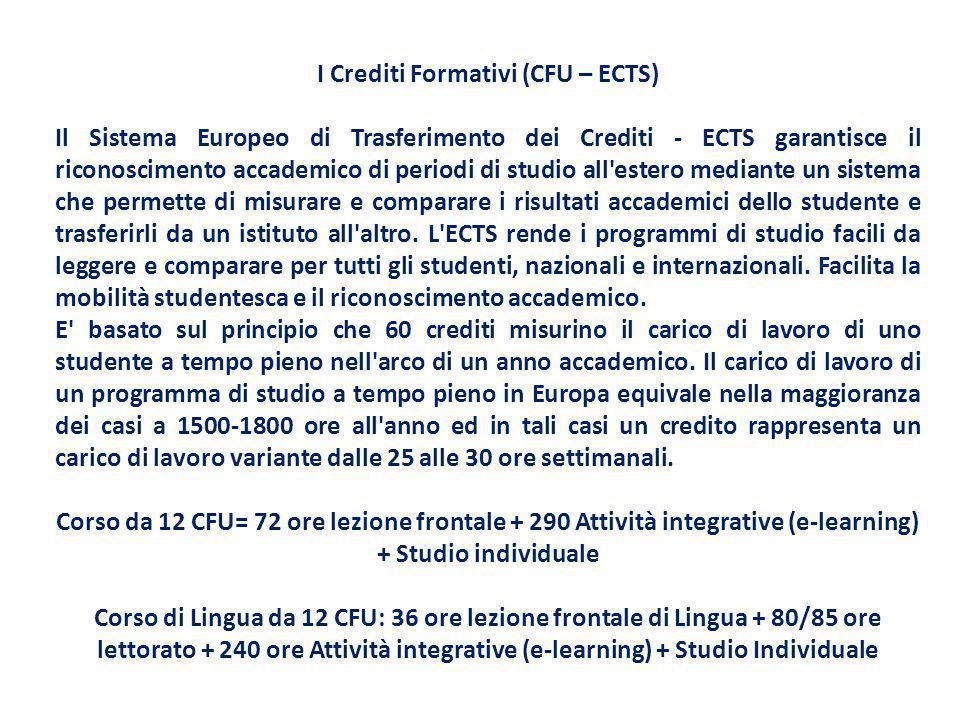 I Crediti Formativi (CFU – ECTS) Il Sistema Europeo di Trasferimento dei Crediti - ECTS garantisce il riconoscimento accademico di periodi di studio a