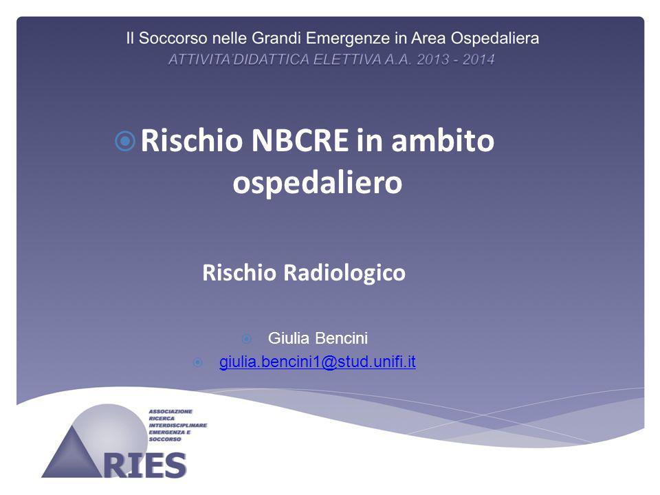  Rischio NBCRE in ambito ospedaliero Rischio Radiologico  Giulia Bencini  giulia.bencini1@stud.unifi.it giulia.bencini1@stud.unifi.it