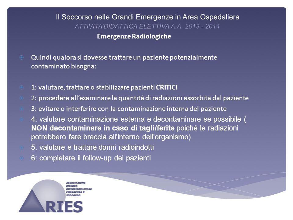 Emergenze Radiologiche  Quindi qualora si dovesse trattare un paziente potenzialmente contaminato bisogna:  1: valutare, trattare o stabilizzare paz