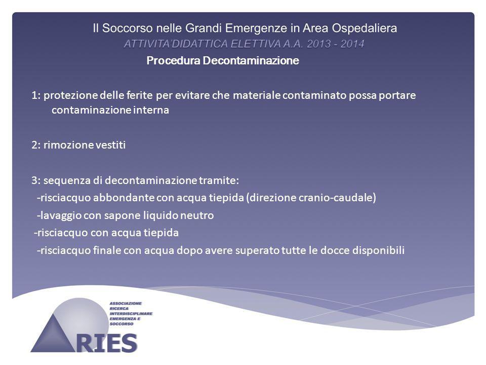 Procedura Decontaminazione 1: protezione delle ferite per evitare che materiale contaminato possa portare contaminazione interna 2: rimozione vestiti