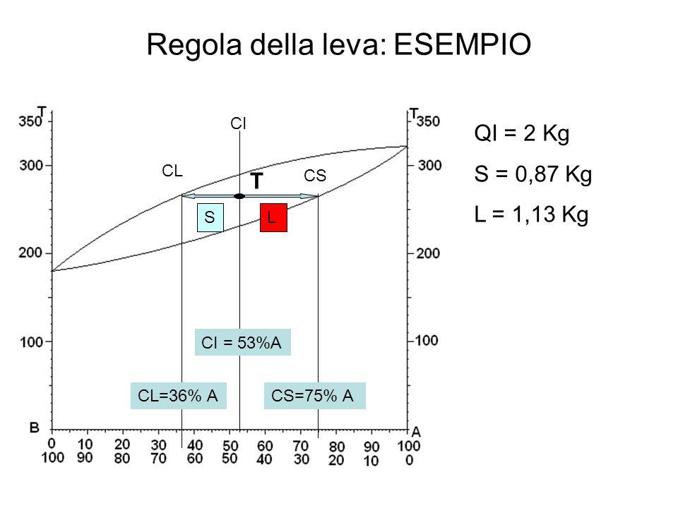 Regola della leva: ESEMPIO CI CS CL LS CL=36% ACS=75% A CI = 53%A T QI = 2 Kg S = 0,87 Kg L = 1,13 Kg