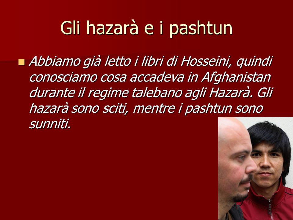 Gli hazarà e i pashtun Da quando i talebani prendono il potere gli hazarà sono perseguitati, e Enaiat non capisce come si possa odiare altri solo perché sono di un'altra etnia, di un'altra religione, o di una diversa fazione religiosa.
