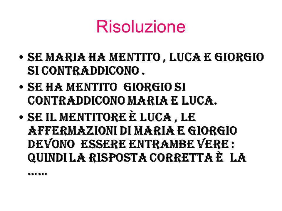Risoluzione Se Maria ha mentito, Luca e Giorgio si contraddicono. Se ha mentito Giorgio si contraddicono Maria e Luca. Se il mentitore è Luca, le affe