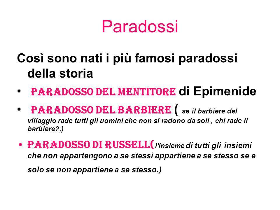 Paradossi Così sono nati i più famosi paradossi della storia paradosso del mentitore di Epimenide paradosso del barbiere ( se il barbiere del villaggi